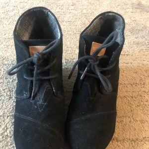 Toms Black suede wedge booties